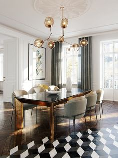 Interior rendering of a haussmann project. Dining Room Inspiration, Interior Design Inspiration, Home Interior Design, Interior Decorating, Design Ideas, Luxury Dining Room, Dining Room Design, New Living Room, Luxury Homes