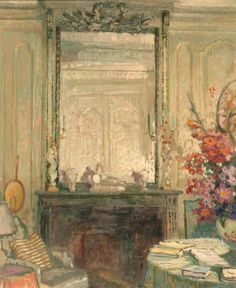 Ethel Sands - Interior with Mirror and Fireplace