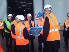 Lord Deighton and Robert Goodwill looking at plans for the Old Oak Common interchange & talking HS2 skills.