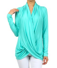 This J-Mode USA Los Angeles Mint Drape Surplice Top by J-Mode USA Los Angeles is perfect! #zulilyfinds