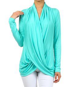 This J-Mode USA Los Angeles Mint Drape Surplice Top by J-Mode USA Los Angeles is perfect! #zulilyfinds