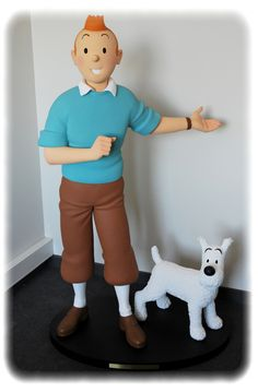 Tintin with Snowy Giant Lifesize LE of 300 Figurine Statue Quick Et Flupke, Tin Tin Cartoon, Palmer Clay, Herge Tintin, Fictional Heroes, Fondant Figures Tutorial, Marionette, Cute Clay, Ad Art