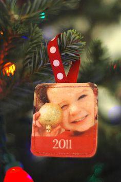 Homemade photo Christmas ornaments
