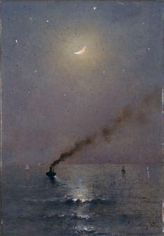 "Alfred STEVENS ""Marine"",1906* (aka 'Clair de Lune sur la Mer') ~ oil on wood panel"