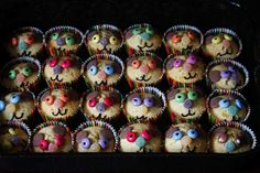 Teddy bear buns with Smarties, Jelly Tots and chocolate buttons.