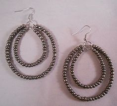 Pewter Double Hoops