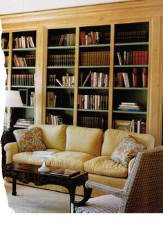 Built-ins behind sofa