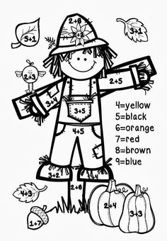 A Tale of 2 First Grades: Fall Freebies Color by Number Fall Math Worksheet