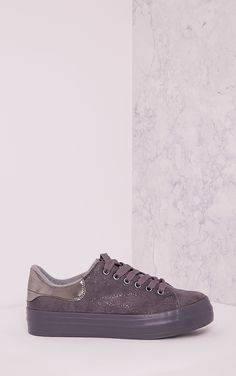 Tyra Grey Faux Suede Lace Up Pumps