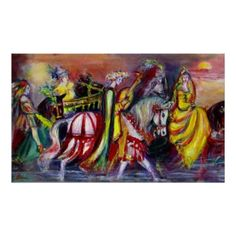 Riders in the Night,  Poster Original acrylic painting on canvas by Bulgan Lumini