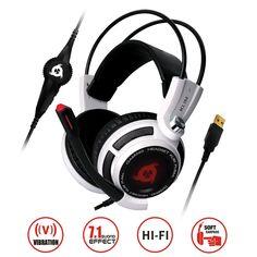 KLIM Puma - Micro Gamer Headset - 7.1 Surround-Sound - Hochqualitativer Klang - Integrierte Vibrationen - Perfekt für PC Gaming Weiß  EUR 49,90