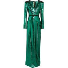 Roland Mouret Wrap-effect lamé gown ($3,575) ❤ liked on Polyvore featuring dresses, gowns, roland mouret, wraparound dress, roland mouret dress, zipper dress, green wrap dress and green evening dresses