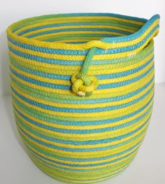 Aquamarine/Light Green/Yellow Coiled Basket by Coilology on Etsy