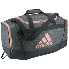 The adidas™ Defender Duffel Bag features a top-loading zippered main compartment and a ventilated wet/dry shoe tunnel.