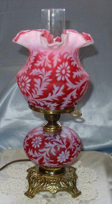 "Vintage 1950s""Fenton""Glass""Cranberry Satin Opalescent""Daisy Fern""3 Way""Lamp""XLNT | eBay"