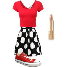 Minnie Mouse by arutila on Polyvore featuring polyvore, fashion, style, Boutique Moschino, Converse and Dolce&Gabbana