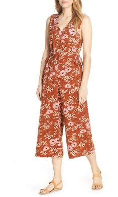 27864888b838 London Times Floral Print Tie Waist Sleeveless Cropped Wide Leg ...