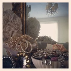 Shabby Chic ~ Vintage Rhinestones & Pearls ~ Ruffles & Roses @ Home (credit ⚓ René Marie Photography)