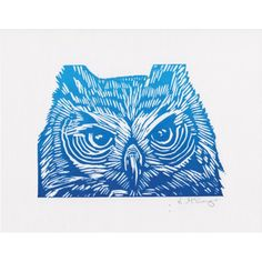 Blue Owl - Lino print by Lauren McGregor
