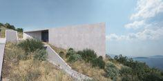 Concrete Structure, Futuristic, Greece, Villa, Country Roads, Villas, Mansions