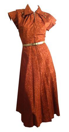 Luxe Copper Moire Taffeta Party Dress w/ Button Collar circa 1940s
