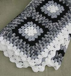 Image result for black grey and whitecrocheted blankets