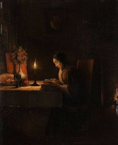 PETRUS VAN SCHENDEL - Reading by Candlelight (1870)