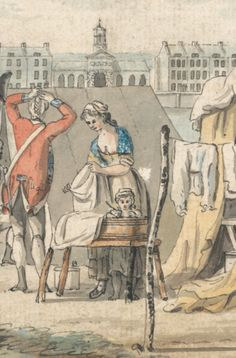 Detail, James Malton, 1761-1803, A Military Encampment in Hyde Park, 1785, Watercolor with pen in black ink, with traces of graphite on moderately thick, moderately textured, beige, laid paper, Yale Center for British Art, Paul Mellon Collection. B2001.2.999