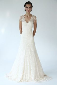"Brides.com: Lela Rose - Fall 2014. Style B07137, ""The Forest"" v-neck placed lace A-line wedding dress, Lela Rose"