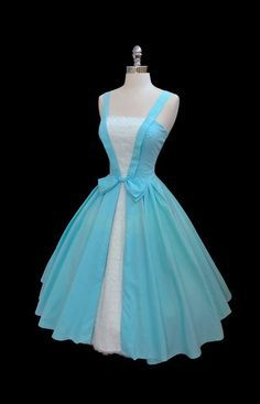Reserved for Julie Vintage 1950's 50s Blue Cotton Tiered White Lace Cocktail…