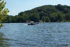 Fishing below Bagnell Dam, Lake of the Ozarks, Missouri.