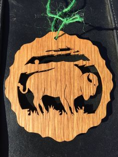 Buffalo Ornament - Wild Buffalo Oak - Wildlife Ornament - Handmade Christmas Ornament - Wildlife Art - Scroll saw Ornament - Hunter Gift #WildlifeDecorations #HandMadeOrnament #NaturalWood #HunterOrnament #BuffaloOrnament #WildlifeDecor #WildlifeArt #WildLifeOrnament #HandmadeOrnament #HuntingOrnament