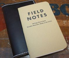 Leather Field Notes Holder (Espresso with White Stitching)