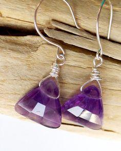 Amethyst Triangle Earrings