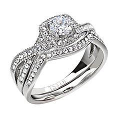 Stainless Steel Women's Infinity Wedding Ring Set Halo Round Cut Cubic Zirconia Size 5-11 SPJ - http://www.jewelryfashionlife.com/stainless-steel-womens-infinity-wedding-ring-set-halo-round-cut-cubic-zirconia-size-5-11-spj/