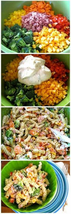 Ranch Pasta Salad 1 cup Greek yogurt (fat free is great!) cup Miracle Whip (fat free/reduced fat is great!) 1 packet ( additional depending on your taste) ranch dressing mix 1 lb pasta, cooked 2 large carrots 1 cups broccoli 1 cup ham 1 cup che. New Recipes, Cooking Recipes, Favorite Recipes, Healthy Recipes, Recipies, Yogurt Recipes, Bacon Recipes, Party Recipes, Soup And Salad