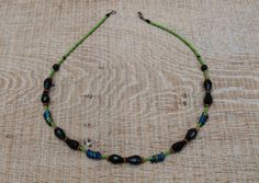 Chic handcrafted jet black and spring green necklace by BijoubeadsLondon Black Necklace, Short Necklace, Boho Necklace, Necklaces, Spring Green, Jet, Delicate, Chic, Gifts
