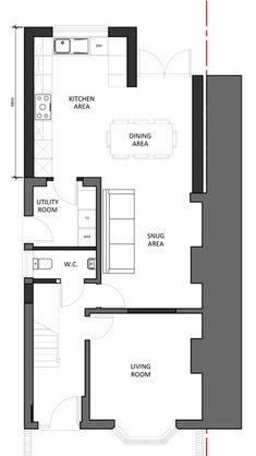 Want information and also tips about kitchen decor? Kitchen Island Ideas Want information and also tips about kitchen decor? Kitchen Extension Floor Plan, 1930s House Extension, House Extension Plans, House Extension Design, Extension Ideas, Side Extension, Conservatory Extension, Open Plan Kitchen Dining Living, Open Plan Kitchen Diner