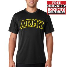 ARMY ARCHED PERFORMANCE T-SHIRT Black Shirt Usarmy Military PT U.S. Tshirt US #RockCityThreads #100WickingPolyester