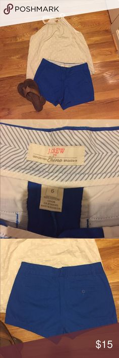 J.crew Factory Chino shorts Bright blue Chino shorts purchased from j.crew factory. They are in good condition, only worn a few times. Size 6 with a 3in inseam. J.Crew Factory Shorts