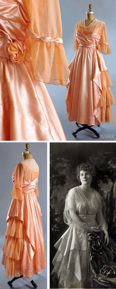 1910 Tea gown: apricot silk charmeuse and apricot silk chiffon. Collar is white silk chiffon. Lined in apricot batiste. Crossover front bodice snaps in layers underneath. Charmeuse and chiffon rose on side. Bodice has charmeuse halfway up. Chiffon sleeves with chiffon ruffles and charmeuse banding. Skirt is tiered ruffled chiffon on sides with silk charmeuse front and back. Photo is of Isabel Warren wearing a similar dress in 1915. Via Maire McLeod, Ruby Lane.