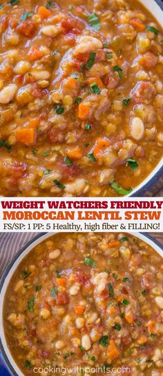 Healthy Weight Moroccan Lentil Stew with beans, carrots, red lentils, garlic and warm Moroccan spices in less than an hour. A healthy Weight Watcher friendly stew with just 1 smart point per serving. Lentil Recipes, Ww Recipes, Crockpot Recipes, Soup Recipes, Vegetarian Recipes, Cooking Recipes, Healthy Recipes, Recipies, Rice