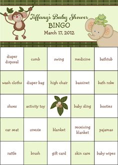Now as a FREE PDF file!  Jungle Babies Baby Shower Bingo.  100 pre-filled game cards.  © Kimbellished, LLC