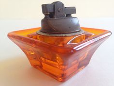 1960s VIKING Glass LIGHTER  Orange Art Glass  by BrocanteBedStuy