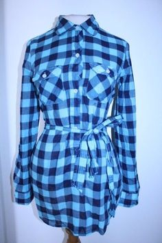 American Eagle Top 4 Blue Navy Plaid Gingham Belted Waist Popover Tunic Blouse  #AmericanEagleOutfitters #Tunic #Casual