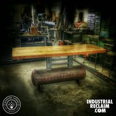 Reclaimed bowling lanes on a vintage air tank. Great bar or island! Will be at this months @randolphmarket  IndustrialReclaim.com  #reclaimed #repurposed #industrialfurniture #modernfurniture #design #art #handmade #decor #vintage #vintageindustrial #industrial #artofchi #creative #steel #metal #metalwork #welding #industrialdesign #interiordesigner #interiordesign #modern #moderndesign #modernindustrial #chicago #Chicagoart #insta_chicago #chicagogram
