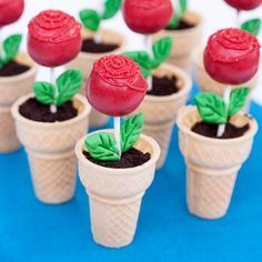 Ice cream cones make perfect edible flower pots for rose cake pops. A dusting of chocolate cookie crumbs over ice cream looks just like dirt. Creating cake pops isn't hard, but it does involve quite a few steps. Cake Cookies, Cupcake Cakes, Cone Cupcakes, Mini Cakes, Spring Cupcakes, Cupcake Ideas, Beauty And The Beast Party, Beauty And The Beast Cupcakes, Cookie Crumbs