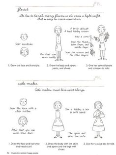 How to draw cute little ladies Click on the page from llustration School