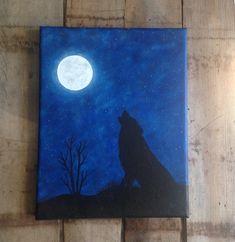 Silhouette art wolf art moon decor silhouette by SunDogArtAndGlass