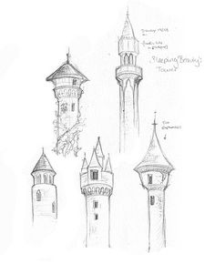 drawings of medieval towers - Buscar con Google